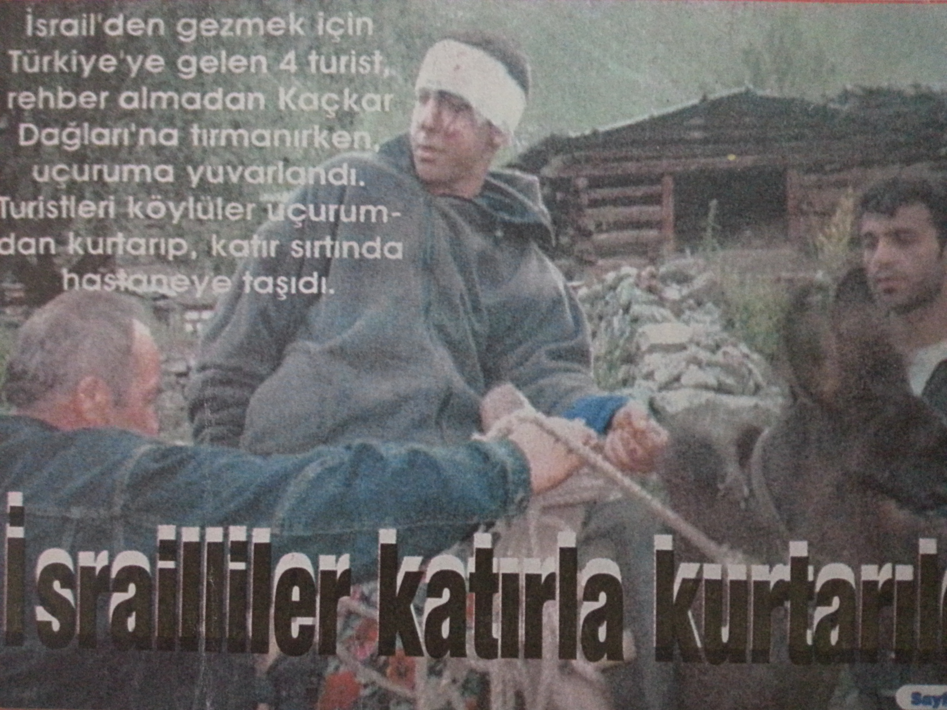 חילוץ מההר על גבי חמור - מתוך עיתון
