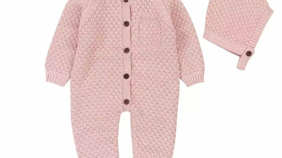 Dusty Pink Warm Knitted Romper with Hat