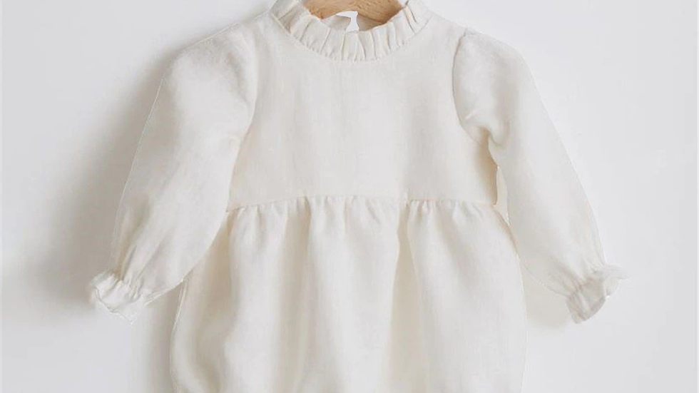 White Glam baby girl romper  0-24m Long Sleeve Jumpsuits One-Piece 100% Org