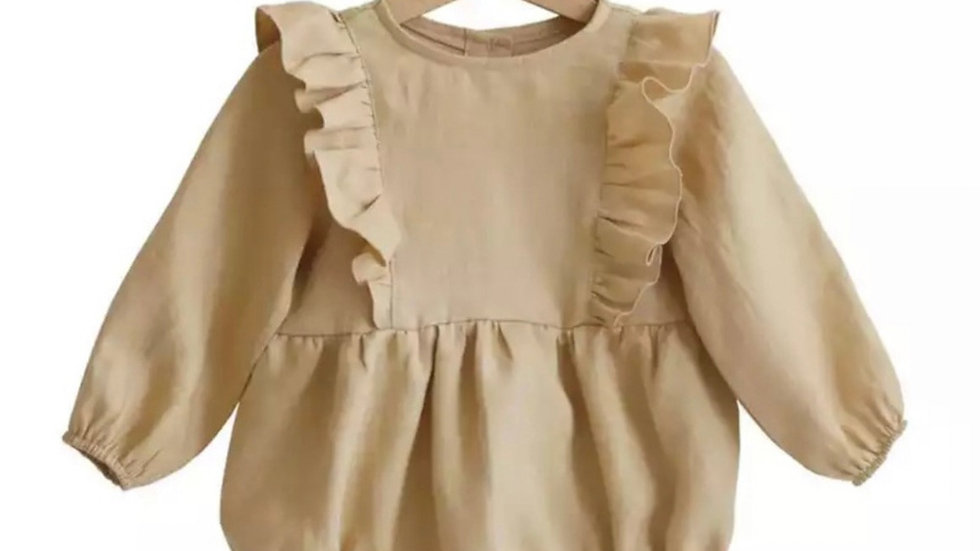 Oatmeal baby girl romper 3-24m Long Sleeve Jumpsuits One-Piece 100% Org