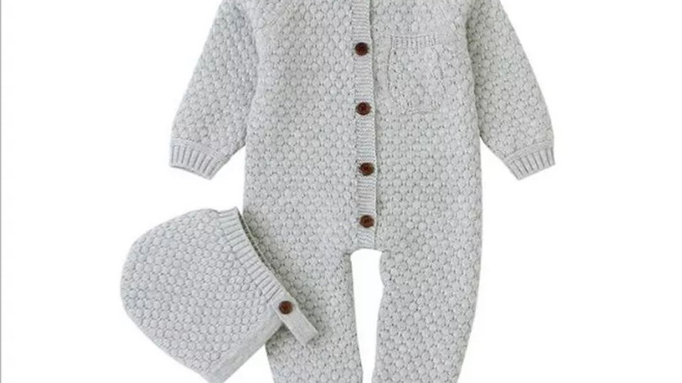 Warm Knitted Romper with Hat