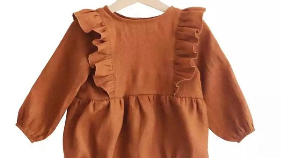 Orange baby girl romper 3-24m Long Sleeve Jumpsuits One-Piece 100% Org