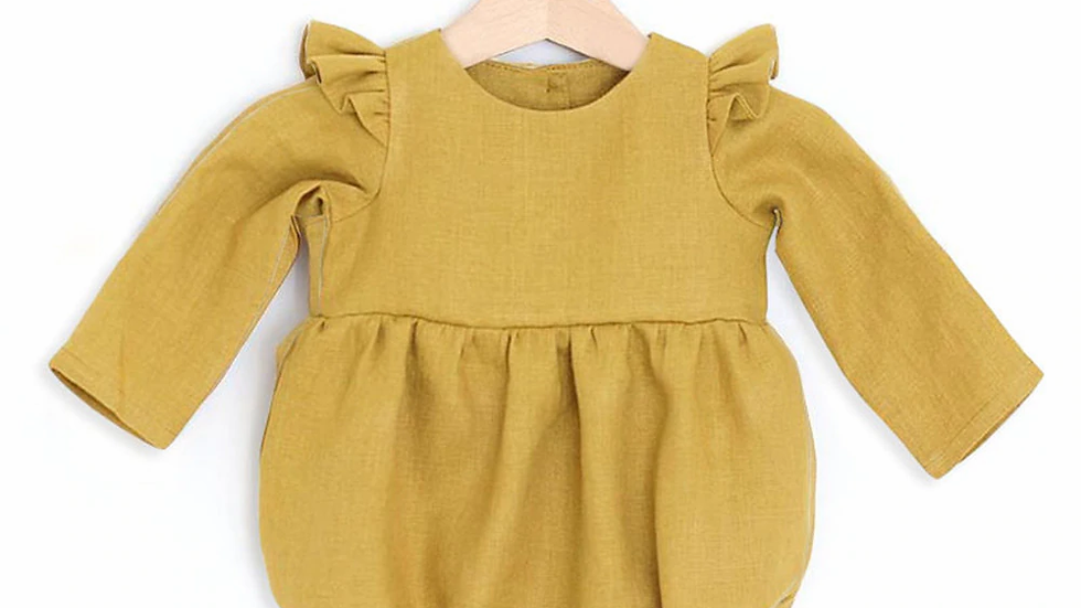 Yellow Glam baby girl romper  0-24m Long Sleeve Jumpsuits One-Piece 100% Org