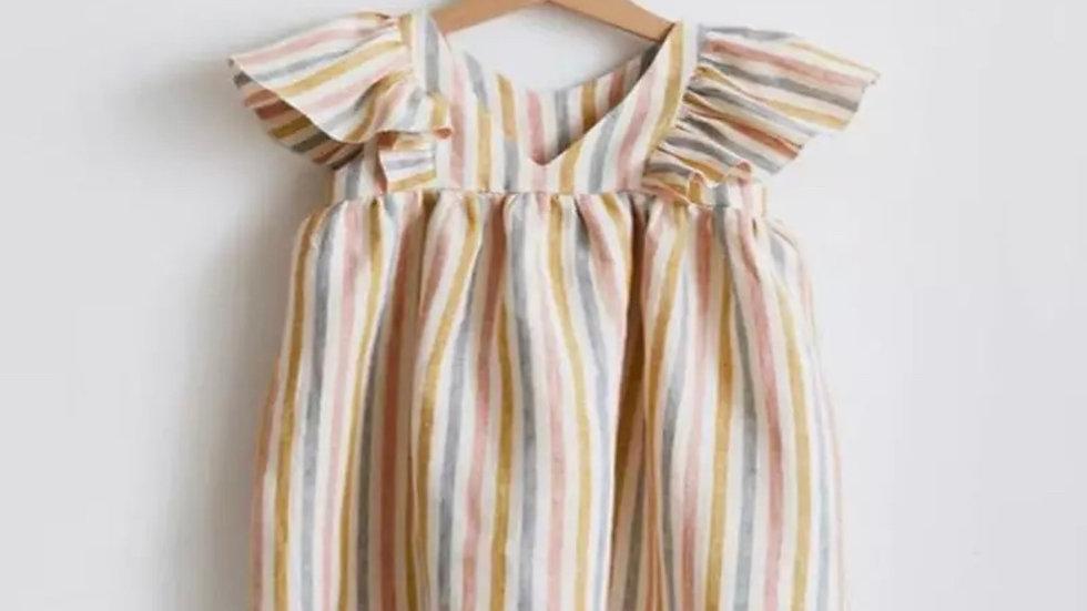 Rainbow Organic Linen Dress