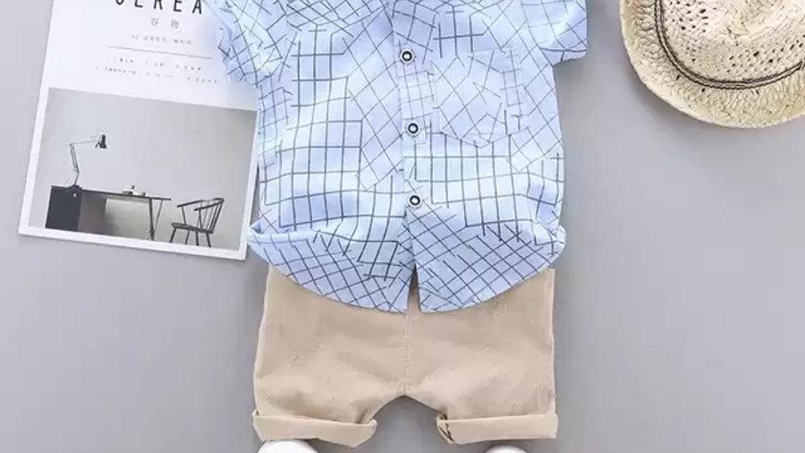 Organic Boys Set - Short Sleeve Shirt + Shorts - Organic Smart Casual