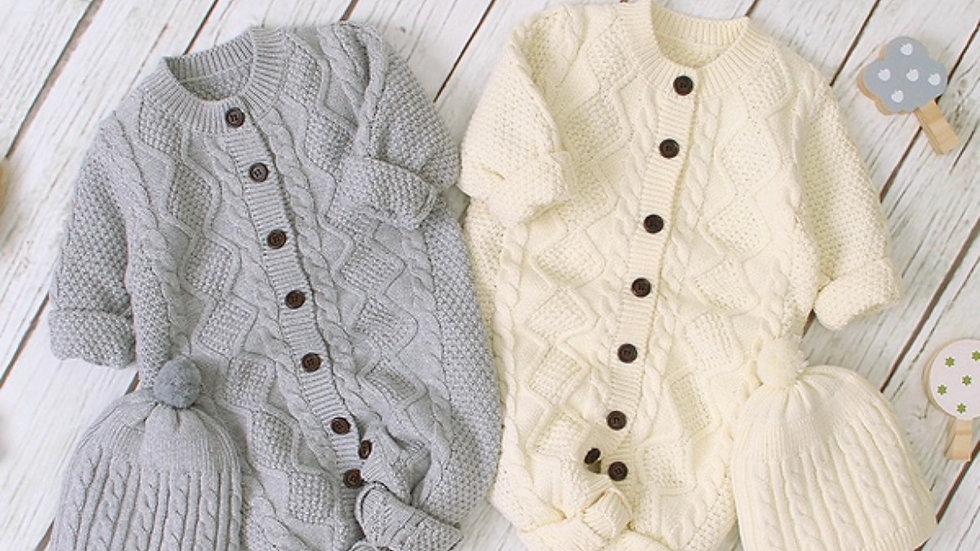 Cozy Organic Cotton 1 Soft Jumpsuit Piece + Hat