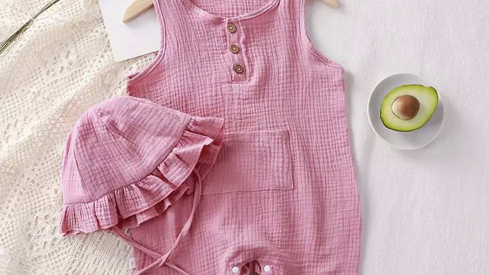 Pink Romper + Hat Summer Set
