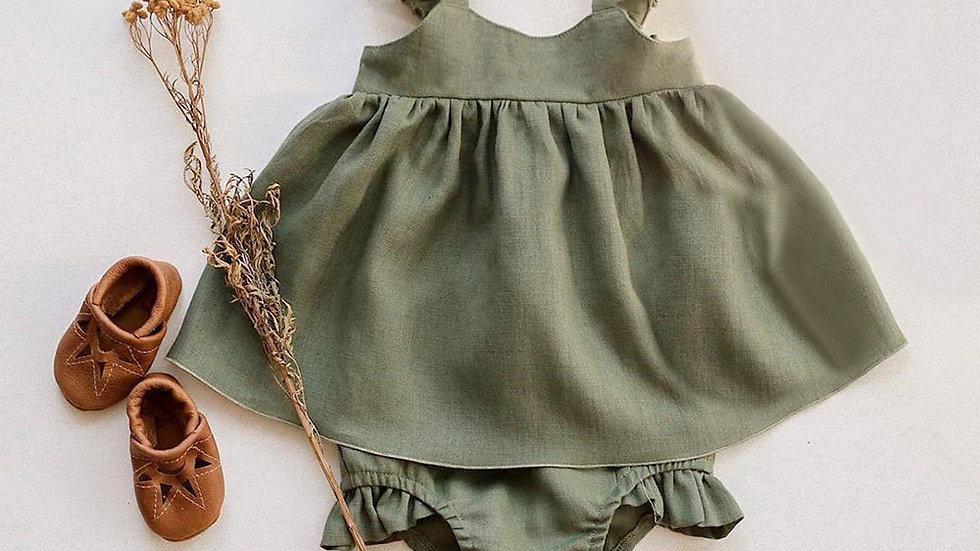Girl Dress Sleeveless Spring_Summer  Baby Hats Organic Cotton Set