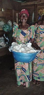 Mushroom harvest.  Happy woman.