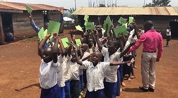 Happy pupils at POPOF primary school