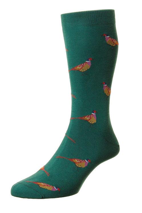 Firle - Pheasants Motif - Organic Cotton Men's Sock