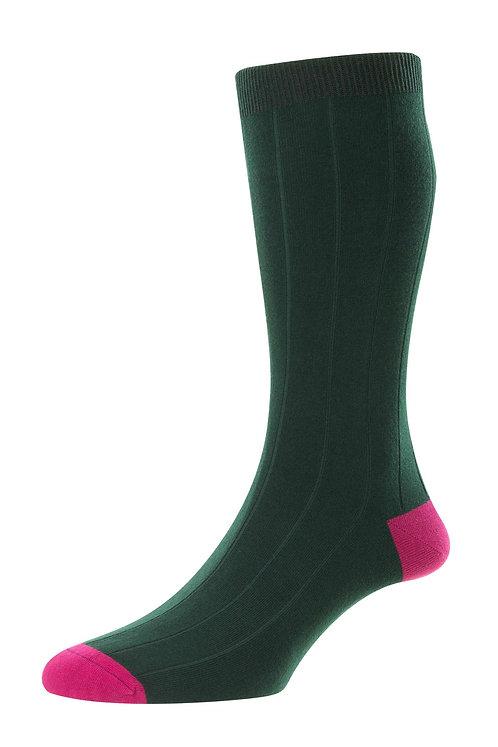 Burford - 19 x 1 Rib With Contrast Heel & Toe - Organic Cotton Men's Sock