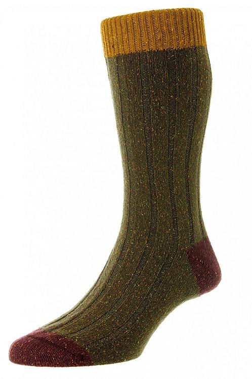 Thornham - 6 x 2 Rib with Contrast Top, Heel & Toe Wool Men's Sock