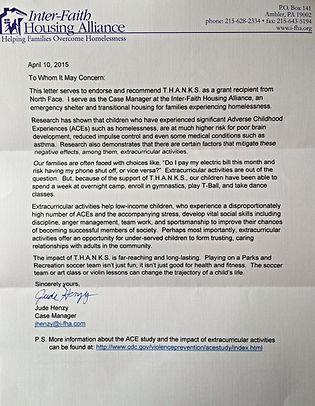 Interfaith Housing alliance Recommendation letter