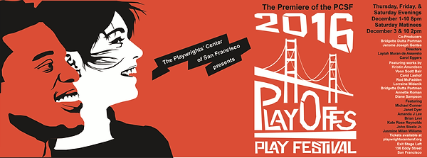 Logo for the Playwright's Center of San Francisco's 2016 Playoffs 2016 Fesival.  Lorraine Midanik's play Benched was included.