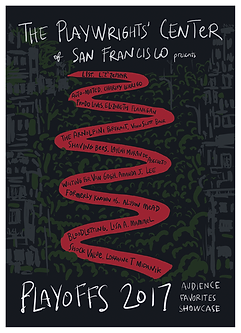 Logo for Playwright's Center of San Francisco's playoffs in 2017.  Lorraine Midanik's play was in it.