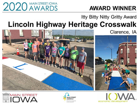 Lincoln Highway Crosswalk Project Awarded by Main Street Iowa