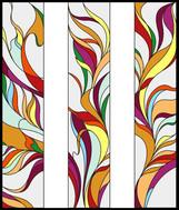ויטראז'ם בעיצוב זורם וצבעוני בשלוש חלונות