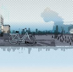 חיים עירוניים בהדפסה קרמית על זכוכית.