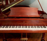 gorgeous Steinway M grand piano front