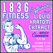 1836 Fitness is caffeinated energy style shot, with 160mg of caffeine and the equivalent of 4-5g of white & greem vein kratom and kicked up with a spicy cinnamonflavor!