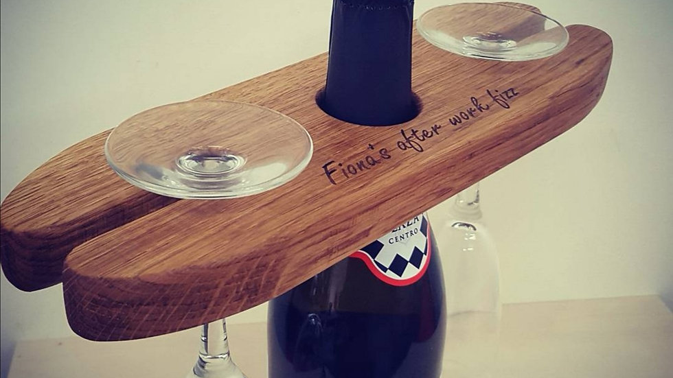 Engraved Wine Glass & Bottle Holder