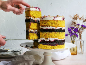 Turmeric Layer Cake with Blueberry Ginger Filling