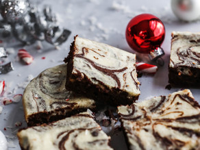 Peppermint-Coconut Brownies with a Cheesecake Swirl