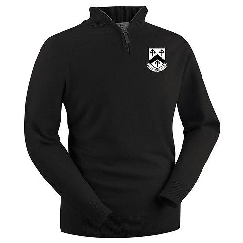Glenbrae 1/4 Zip Lambswool Sweater - Black - Worfield CC