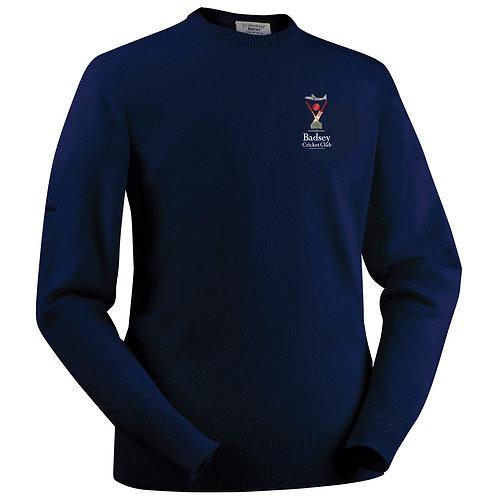 Glenbrae Round Neck Lambswool Sweater - Navy - Badsey CC
