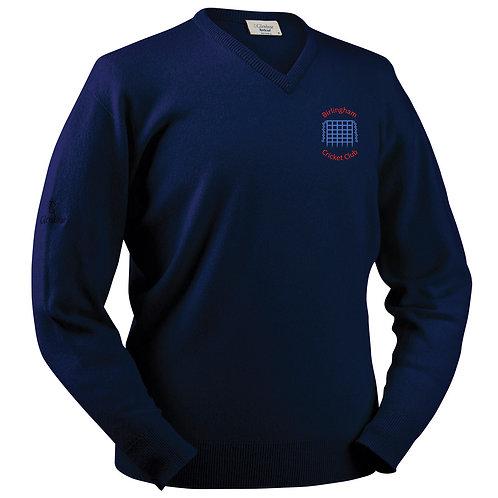 Glenbrae V Neck Lambswool Sweater - Navy - Birlingham CC