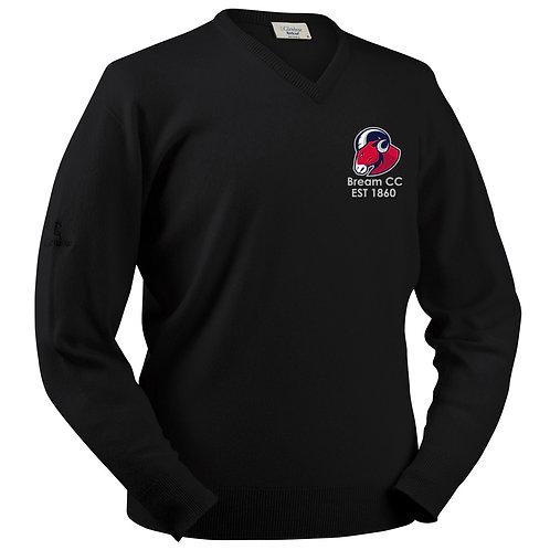 Glenbrae V Neck Lambswool Sweater - Black - Bream CC