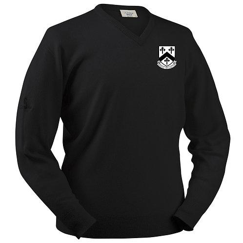 Glenbrae V Neck Lambswool Sweater - Black - Worfield CC