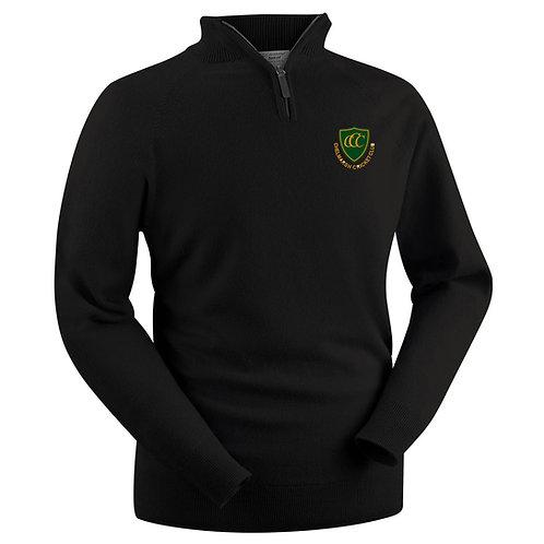 Glenbrae 1/4 Zip Lambswool Sweater - Black - Chelmarsh