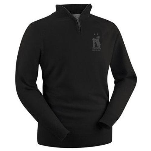 Glenbrae 1/4 Zip Lambswool Sweater - Black - Knowle & Dorridge