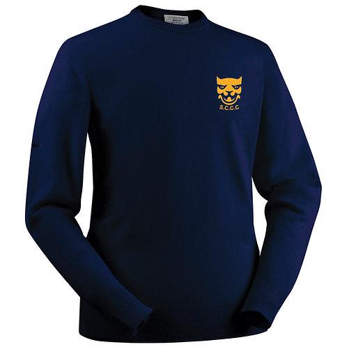 Glenbrae Round Neck Lambswool Sweater - Navy - Shropshire CCC Members