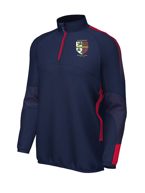 1/4 Zip Mid Layer (E868) Navy/Red - Claverley CC