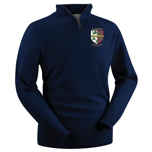 Glenbrae 1/4 Zip Lambswool Sweater - Navy - Claverley CC