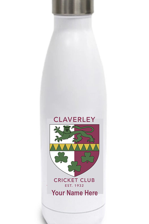 Water Bottle (inc name) White - Claverley CC