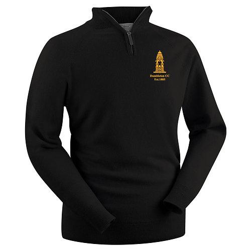 Glenbrae 1/4 Zip Lambswool Sweater - Black - Dumbleton