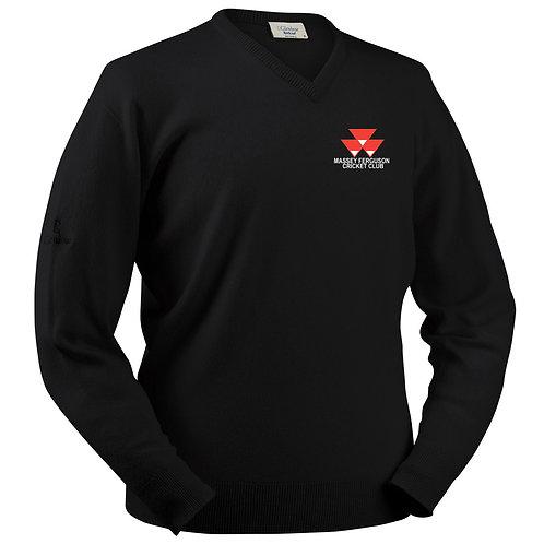 Glenbrae Lambswool V Neck Sweater - Black - Massey Ferguson CC