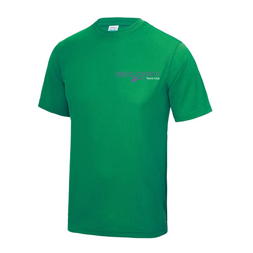 T Shirt Junior polyester, (JC01J) Kelly Green, Bridgnorth Tennis Club