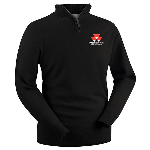 Glenbrae Lambswool 1/4 Zip Sweater - Black - Massey Ferguson CC