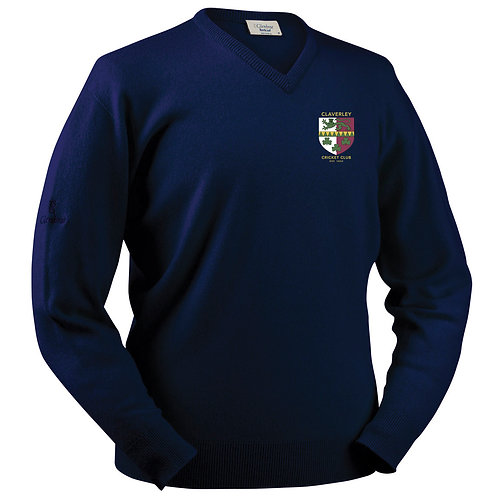 Glenbrae V Neck Lambswool Sweater - Navy - Claverley CC