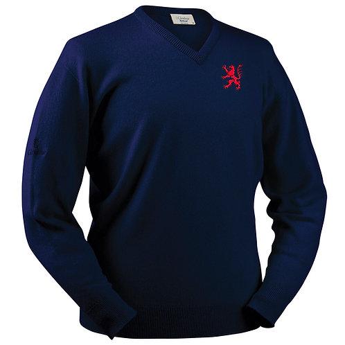 Glenbrae Lambswool V Neck Sweater - Navy - B & E R CC