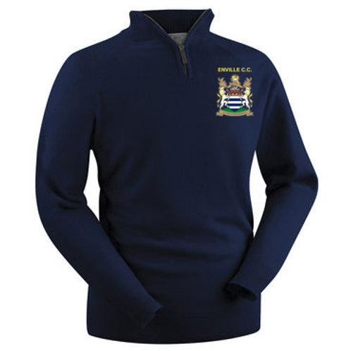 Glenbrae 1/4 Zip Lambswool Sweater - Navy - Enville