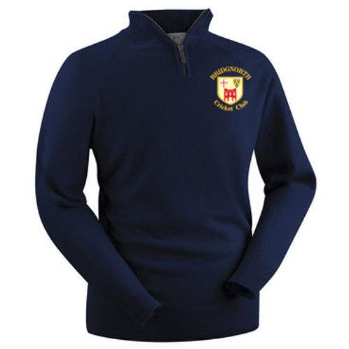 Glenbrae 1/4 Zip Lambswool Sweater - Navy - Bridgnorth CC