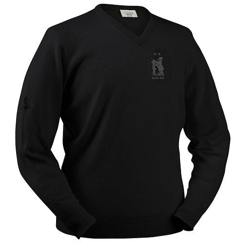 Glenbrae V-Neck Lambswool Sweater - Black - Knowle & Dorridge