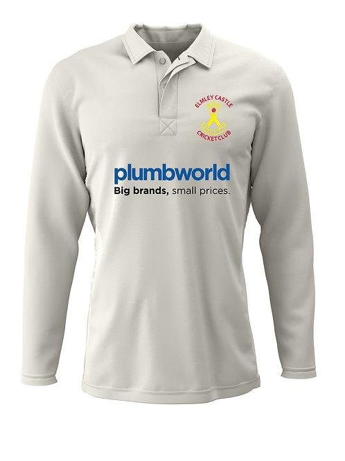 Senior Cricket Shirt L/S (H2) Cream - Elmley Castle CC