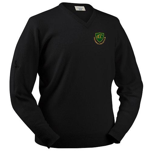 Glenbrae V Neck Lambswool Sweater - Black - Chelmarsh